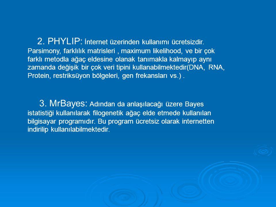 2. PHYLIP: İnternet üzerinden kullanımı ücretsizdir