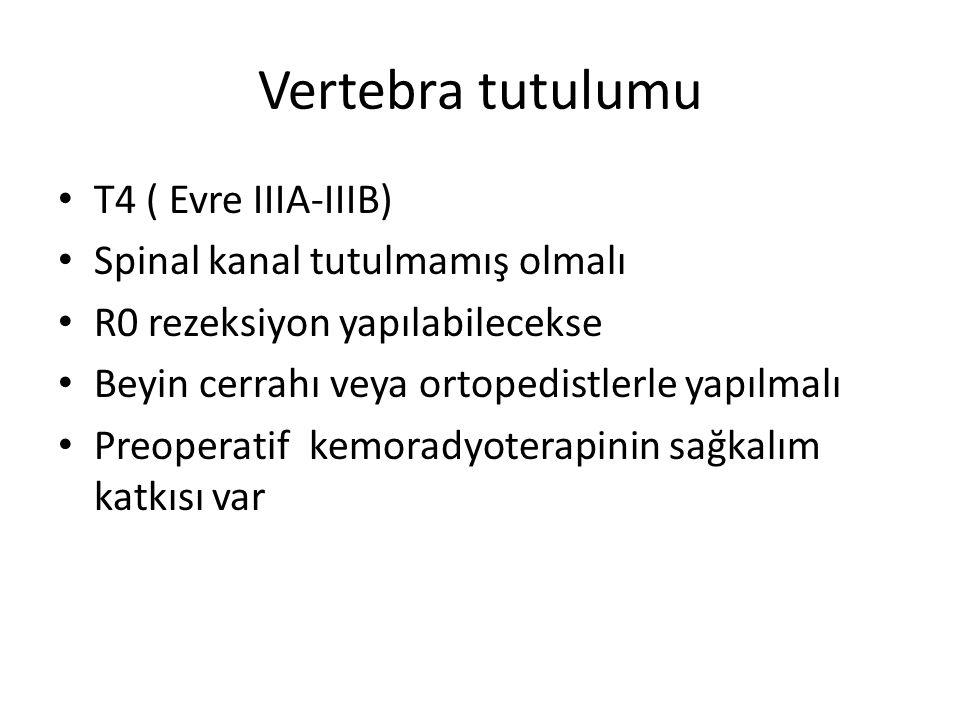 Vertebra tutulumu T4 ( Evre IIIA-IIIB) Spinal kanal tutulmamış olmalı