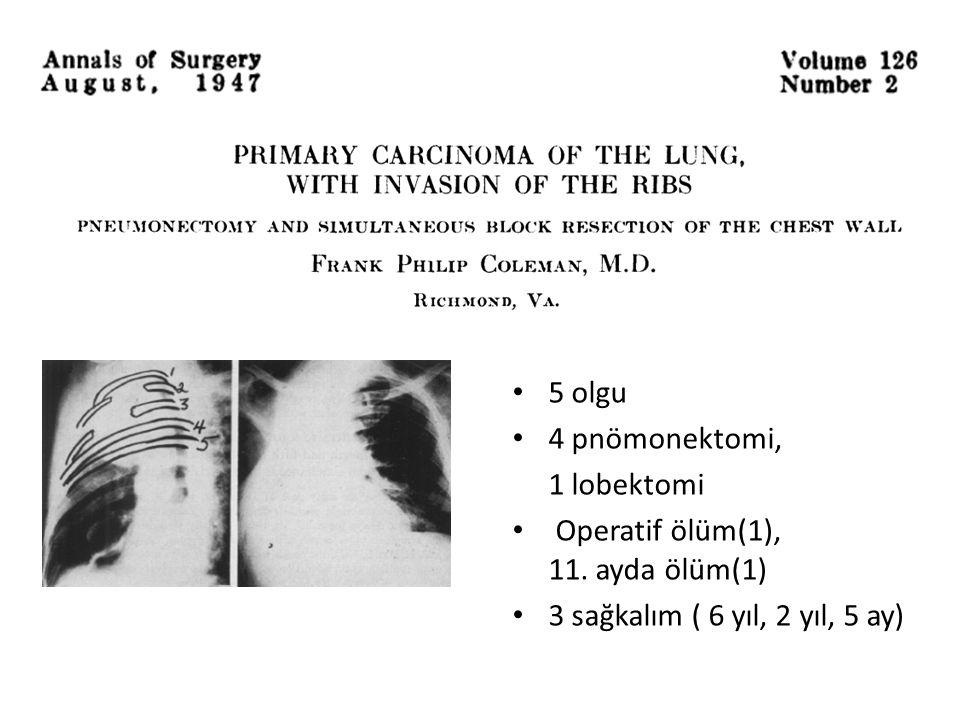 5 olgu 4 pnömonektomi, 1 lobektomi. Operatif ölüm(1), 11.
