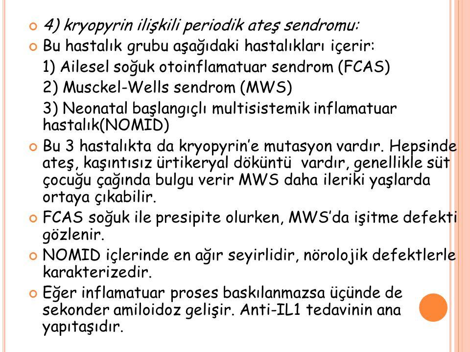 4) kryopyrin ilişkili periodik ateş sendromu: