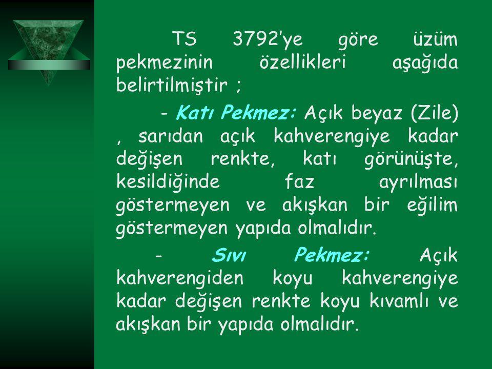 TS 3792'ye göre üzüm pekmezinin özellikleri aşağıda belirtilmiştir ;
