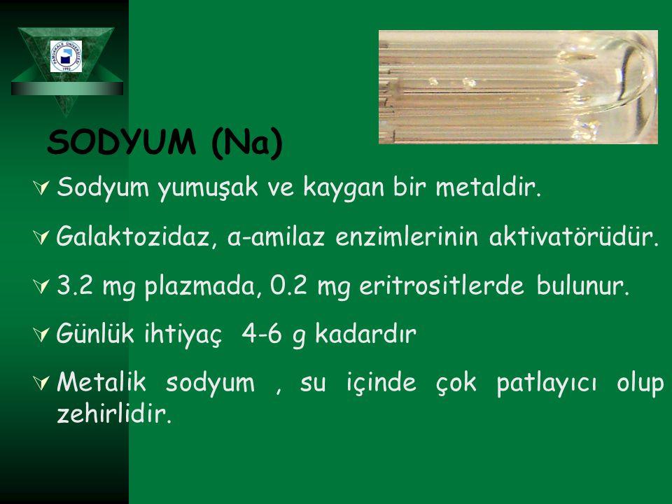 SODYUM (Na) Sodyum yumuşak ve kaygan bir metaldir.