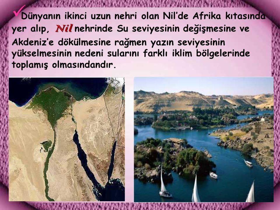 Dünyanın ikinci uzun nehri olan Nil'de Afrika kıtasında yer alıp, Nil nehrinde Su seviyesinin değişmesine ve Akdeniz'e dökülmesine rağmen yazın seviyesinin yükselmesinin nedeni sularını farklı iklim bölgelerinde toplamış olmasındandır.