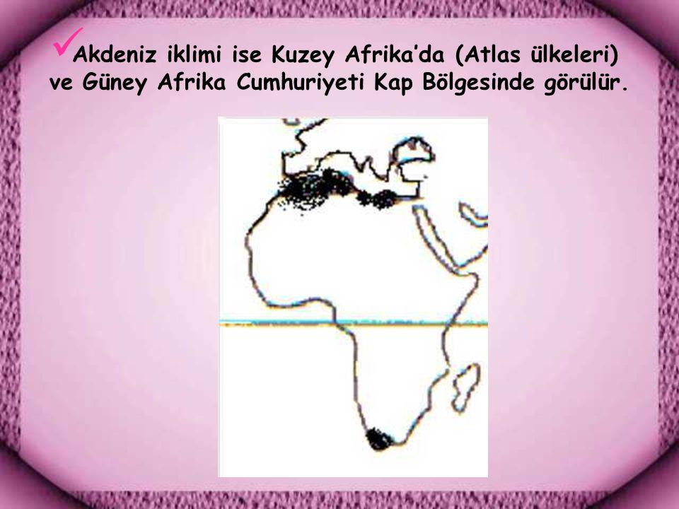 Akdeniz iklimi ise Kuzey Afrika'da (Atlas ülkeleri) ve Güney Afrika Cumhuriyeti Kap Bölgesinde görülür.