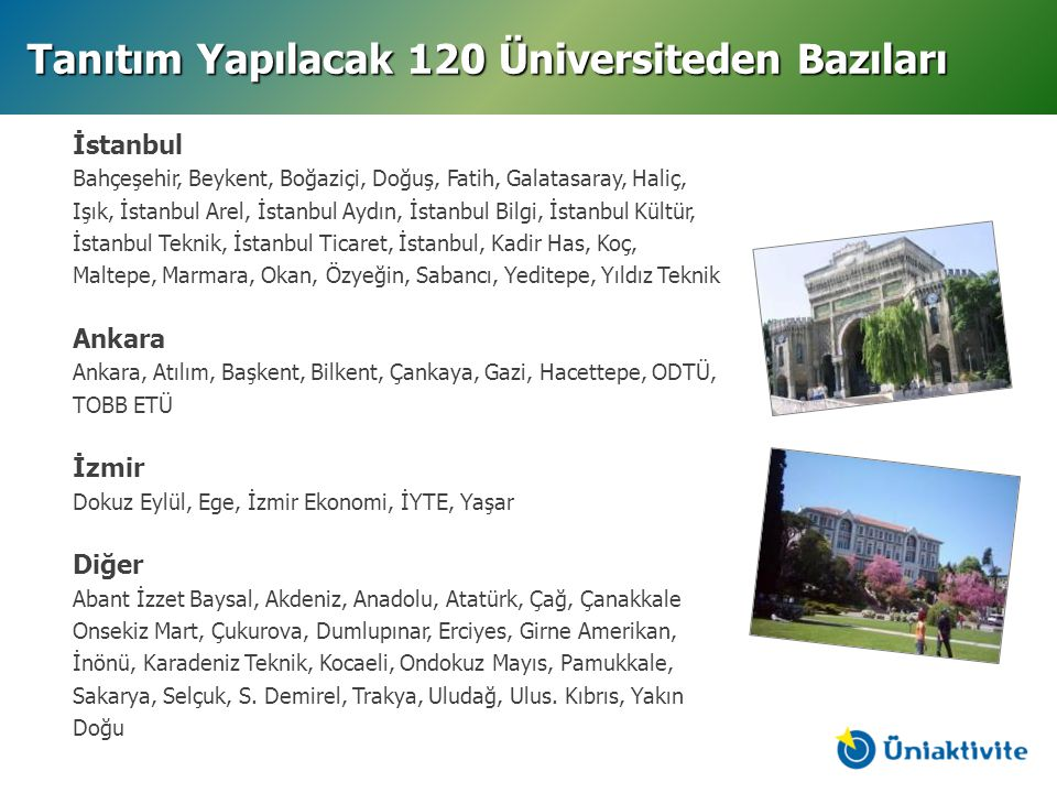 Tanıtım Yapılacak 120 Üniversiteden Bazıları