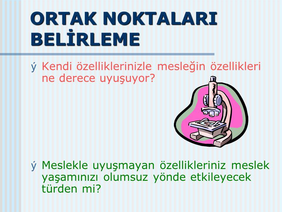 ORTAK NOKTALARI BELİRLEME