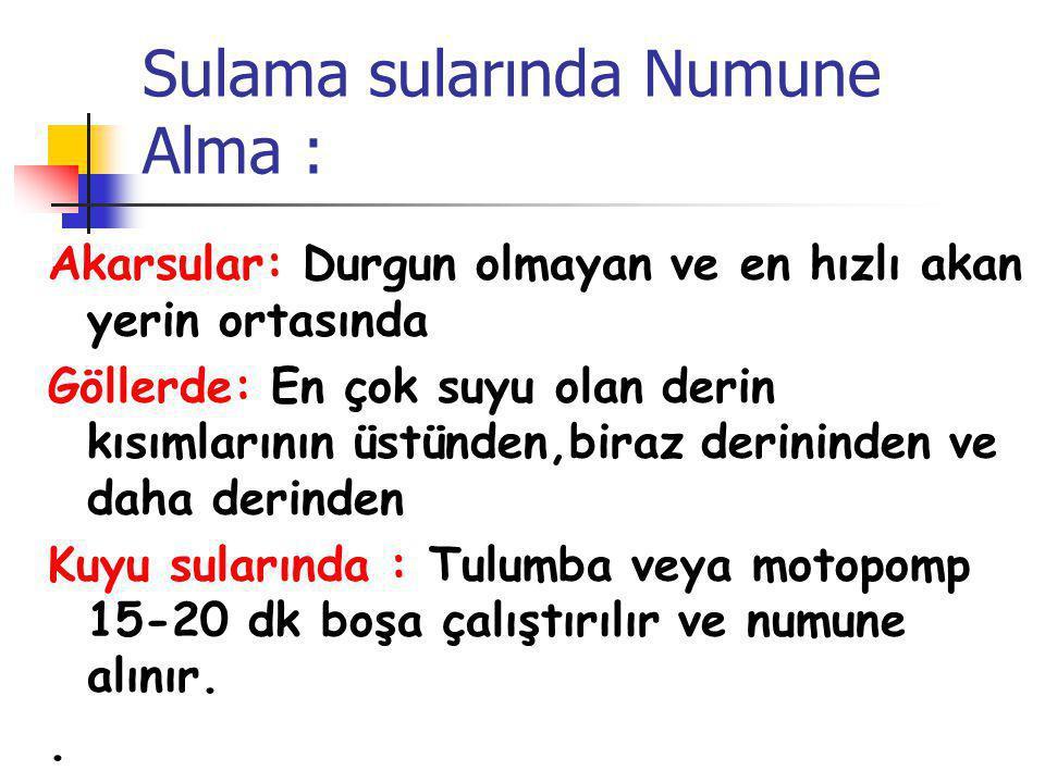 Sulama sularında Numune Alma :