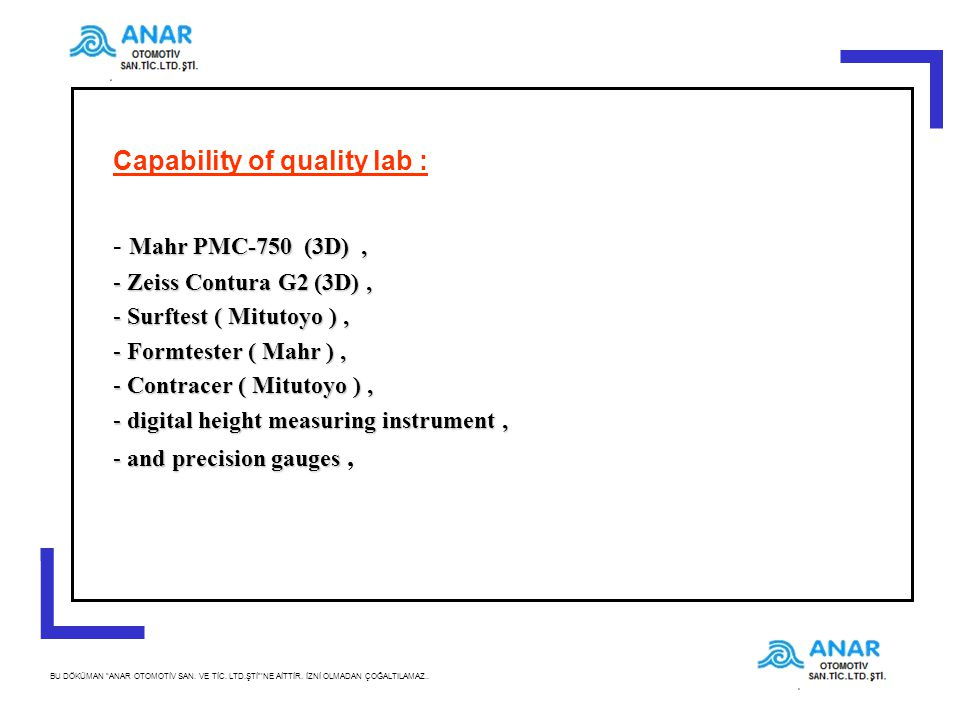 Capability of quality lab :