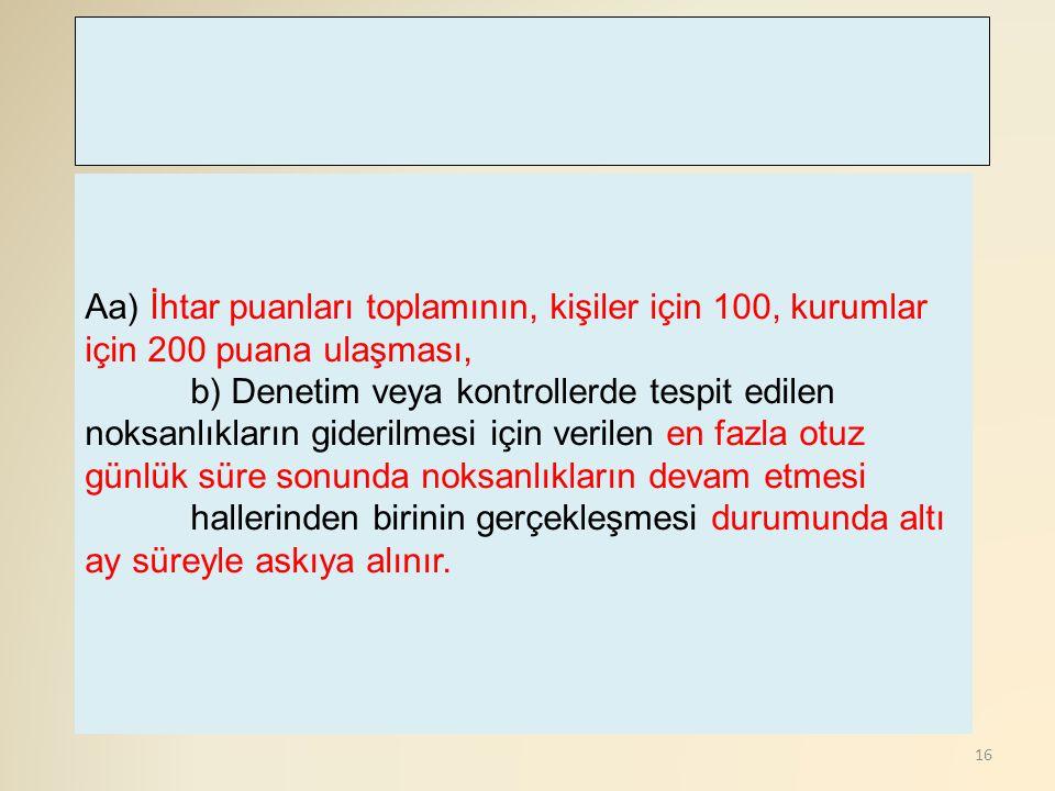 Aa) İhtar puanları toplamının, kişiler için 100, kurumlar için 200 puana ulaşması,