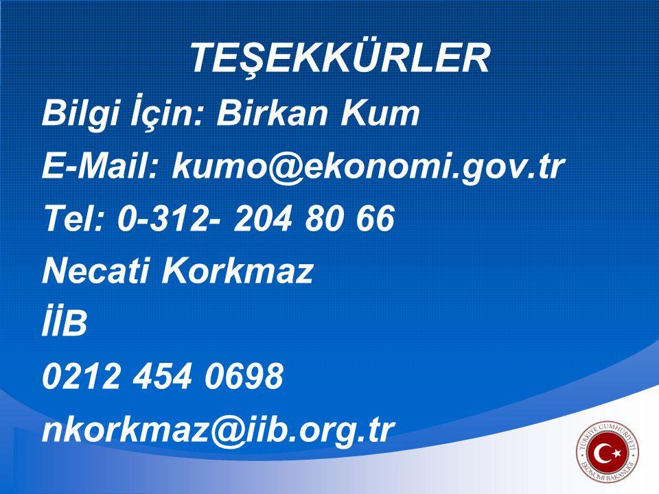 TEŞEKKÜRLER Bilgi İçin: Birkan Kum E-Mail: kumo@ekonomi.gov.tr