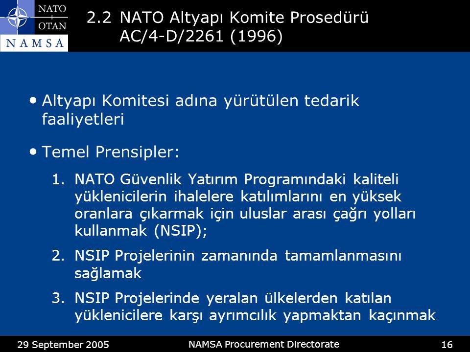 2.2 NATO Altyapı Komite Prosedürü AC/4-D/2261 (1996)