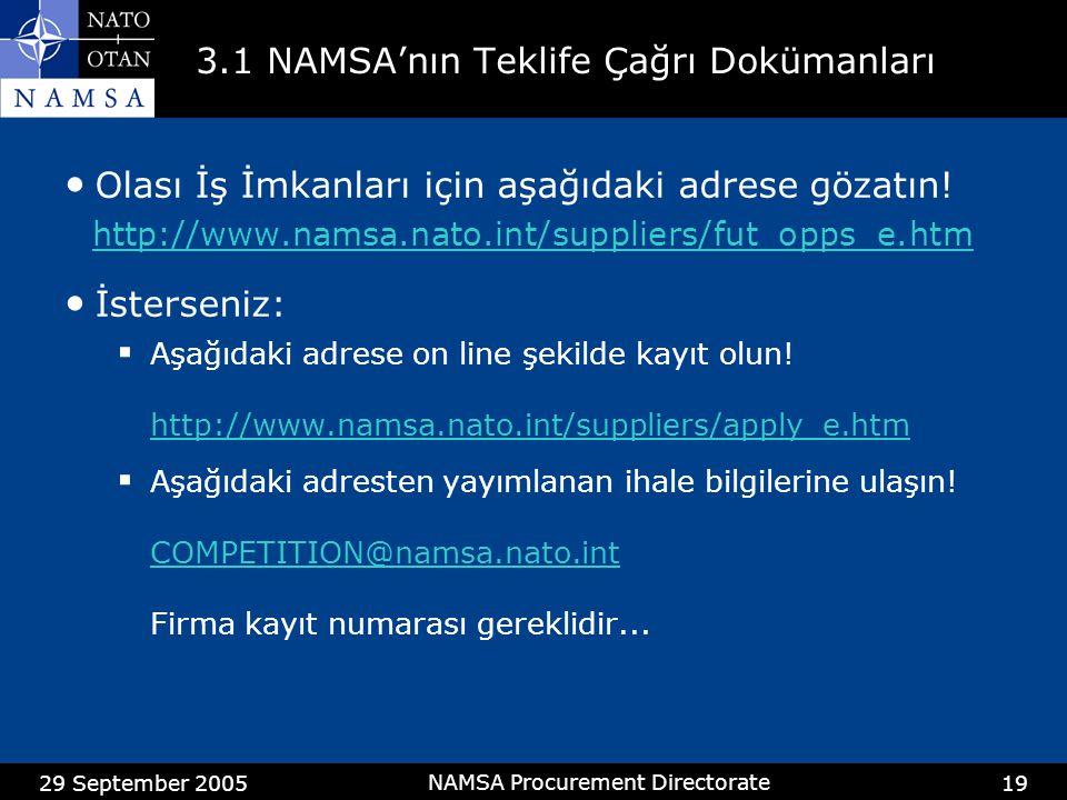 3.1 NAMSA'nın Teklife Çağrı Dokümanları