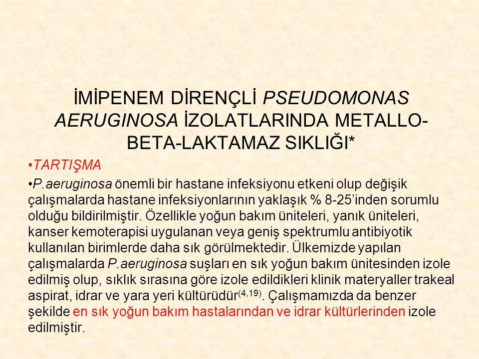 İMİPENEM DİRENÇLİ PSEUDOMONAS AERUGINOSA İZOLATLARINDA METALLO-BETA-LAKTAMAZ SIKLIĞI*