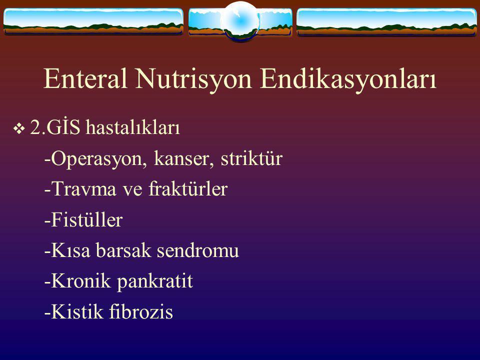 Enteral Nutrisyon Endikasyonları