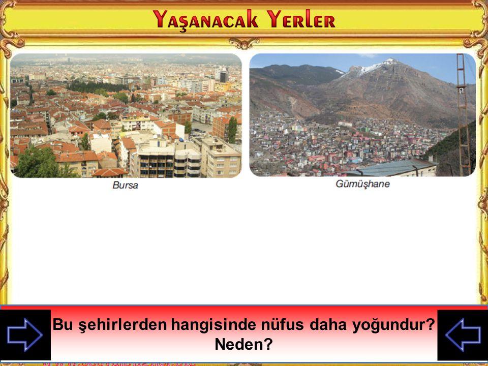 Bu şehirlerden hangisinde nüfus daha yoğundur