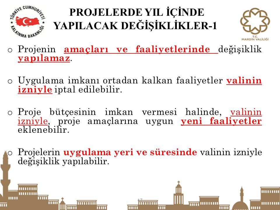 PROJELERDE YIL İÇİNDE YAPILACAK DEĞİŞİKLİKLER-1