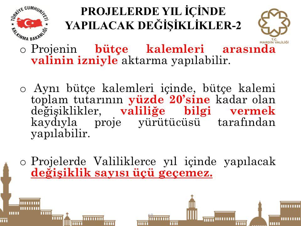 PROJELERDE YIL İÇİNDE YAPILACAK DEĞİŞİKLİKLER-2