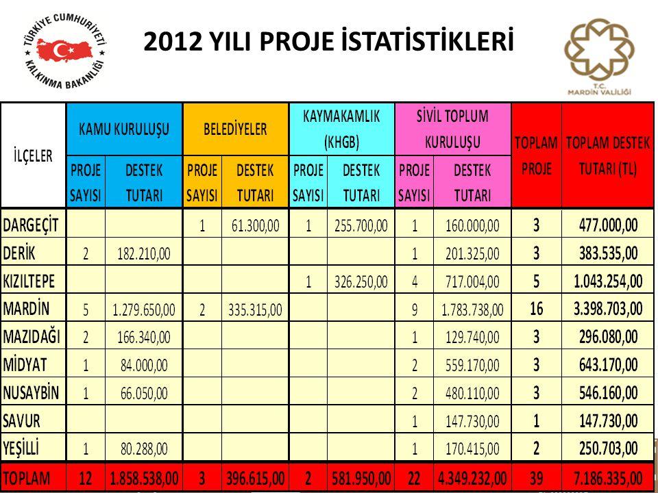 2012 YILI PROJE İSTATİSTİKLERİ
