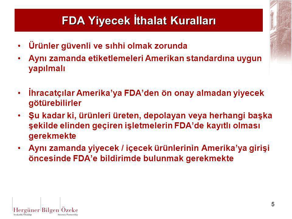 FDA Yiyecek İthalat Kuralları