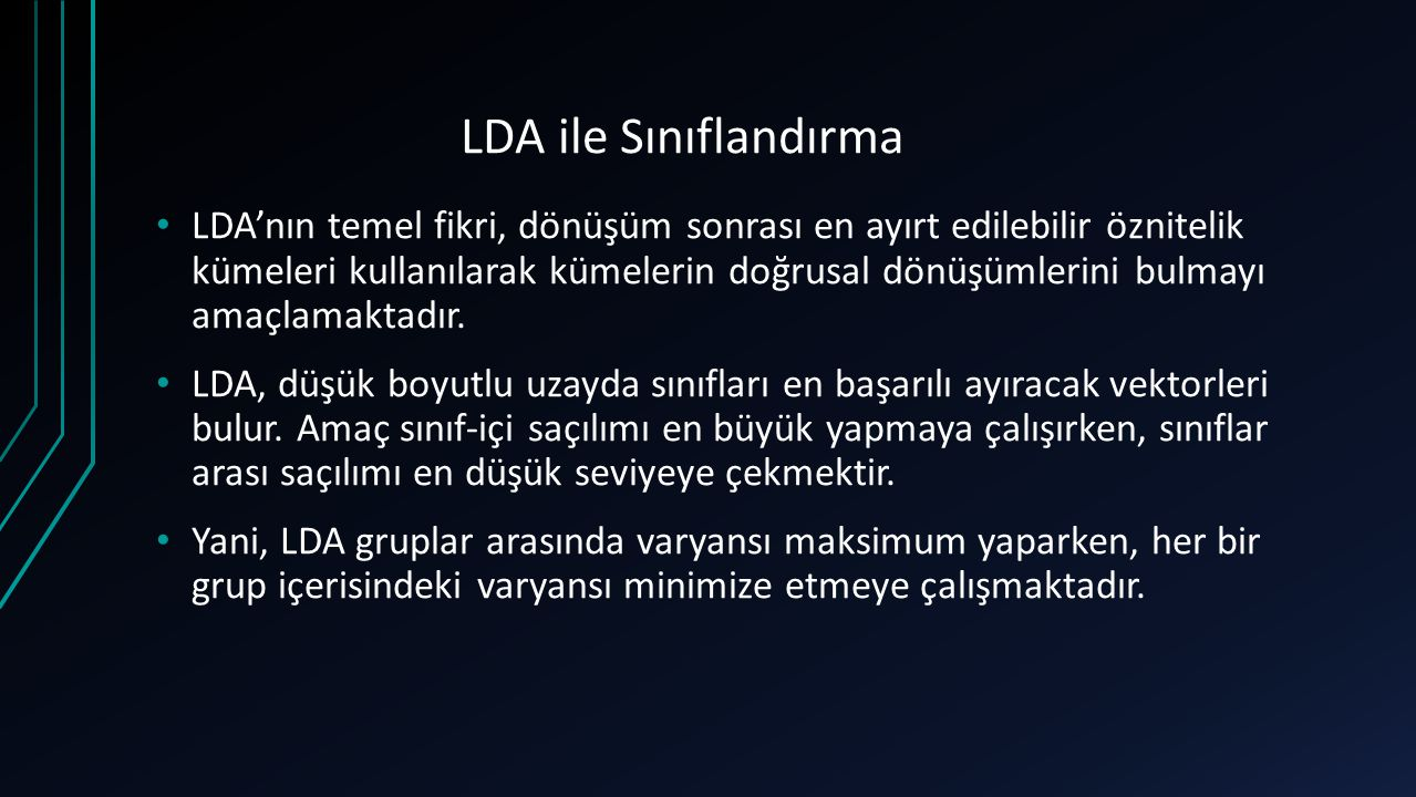 LDA ile Sınıflandırma