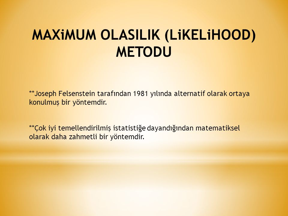 MAXiMUM OLASILIK (LiKELiHOOD) METODU