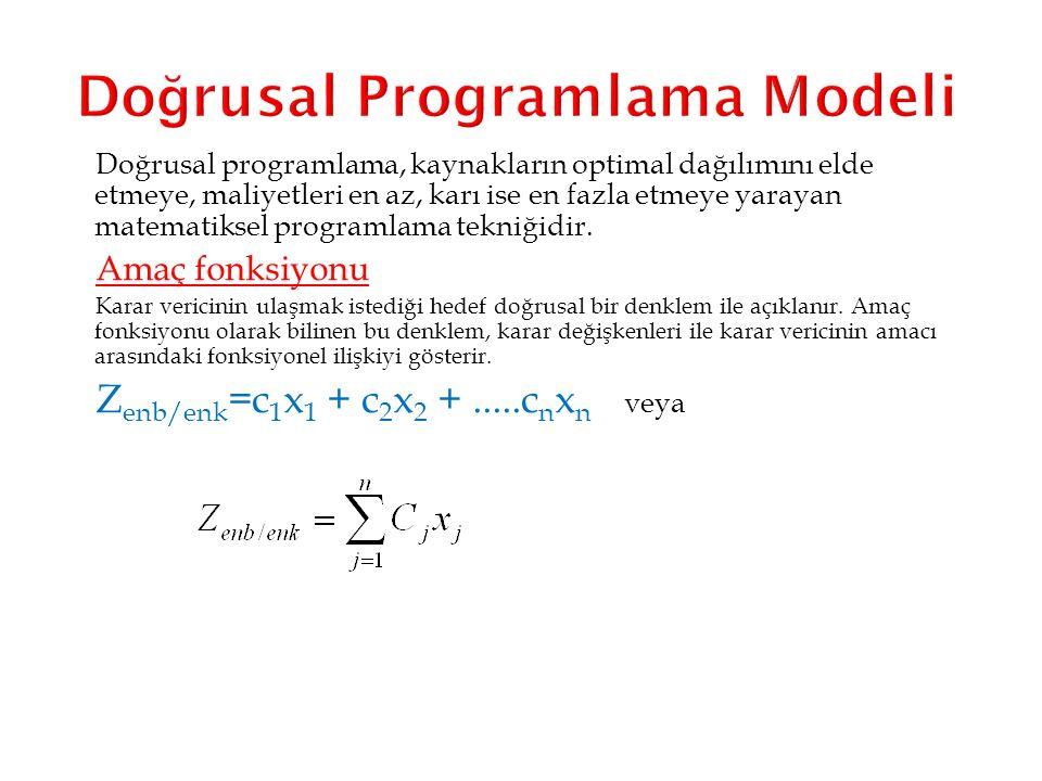 Doğrusal Programlama Modeli