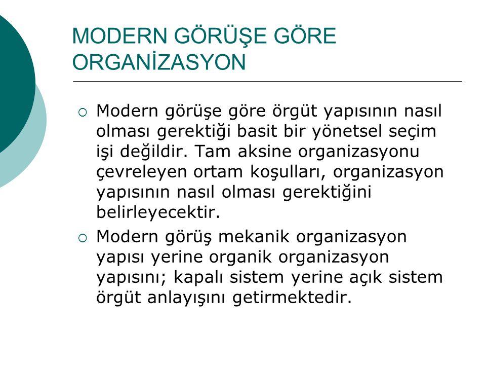 MODERN GÖRÜŞE GÖRE ORGANİZASYON