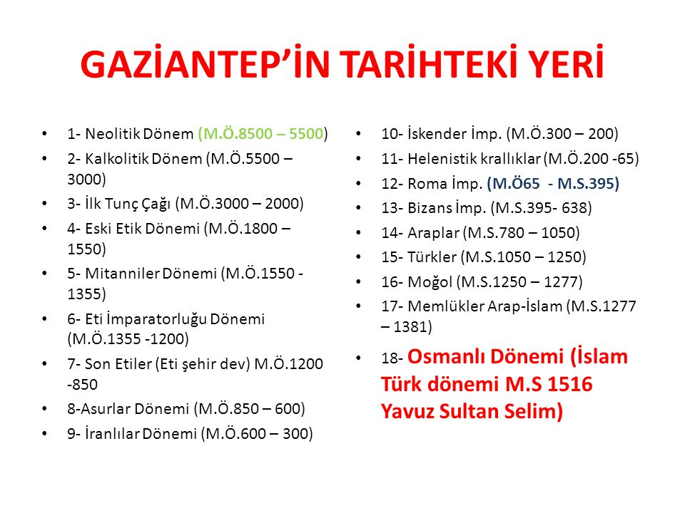 GAZİANTEP'İN TARİHTEKİ YERİ