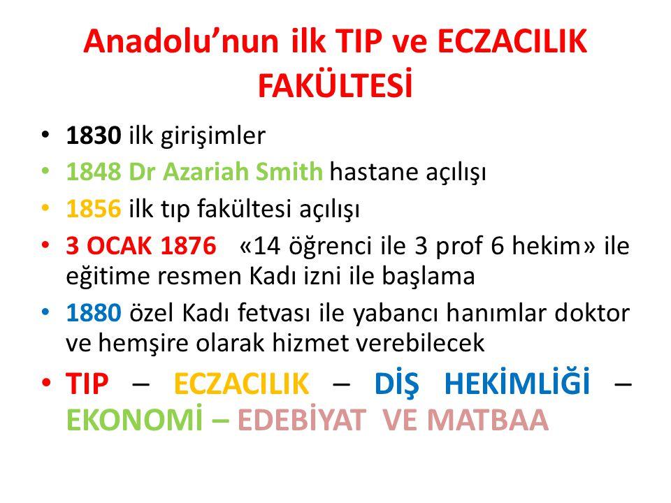 Anadolu'nun ilk TIP ve ECZACILIK FAKÜLTESİ
