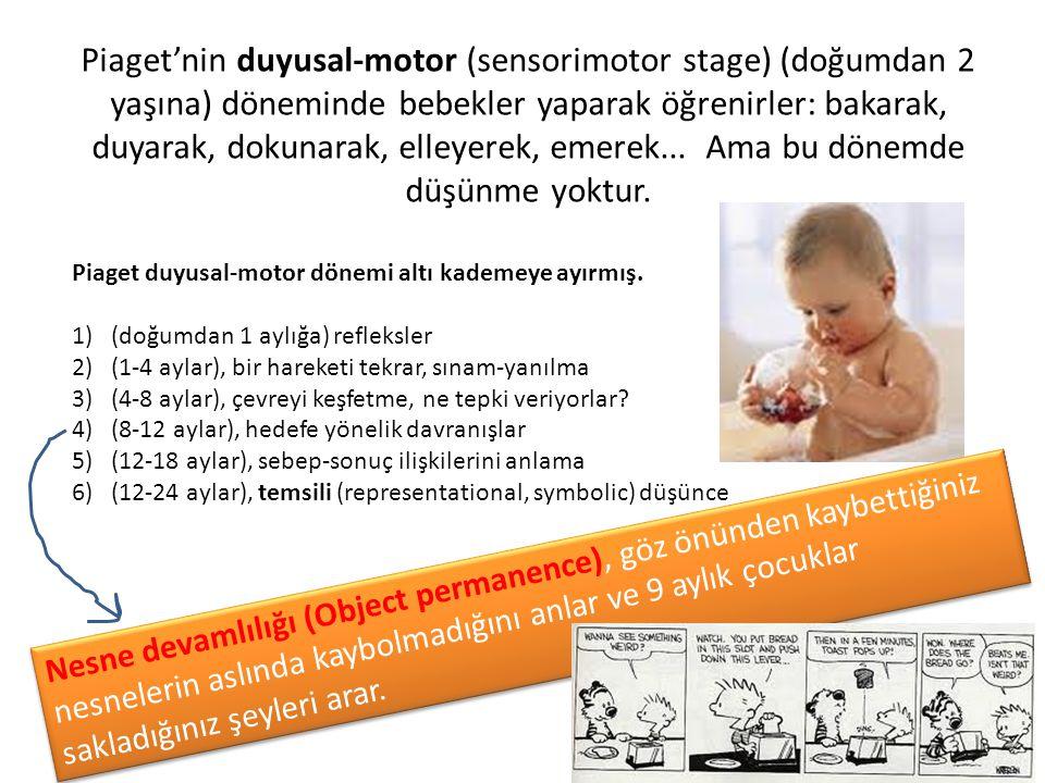 Piaget'nin duyusal-motor (sensorimotor stage) (doğumdan 2 yaşına) döneminde bebekler yaparak öğrenirler: bakarak, duyarak, dokunarak, elleyerek, emerek... Ama bu dönemde düşünme yoktur.
