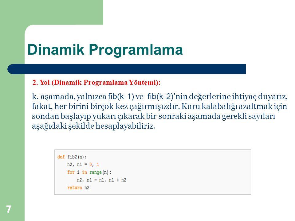 Dinamik Programlama 2. Yol (Dinamik Programlama Yöntemi):