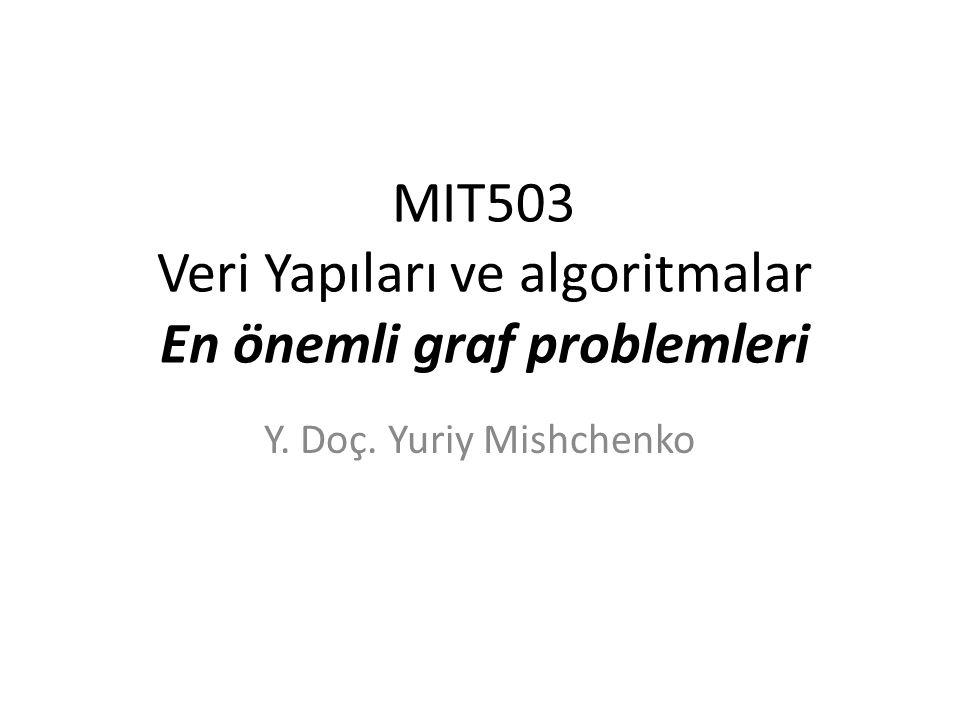 MIT503 Veri Yapıları ve algoritmalar En önemli graf problemleri