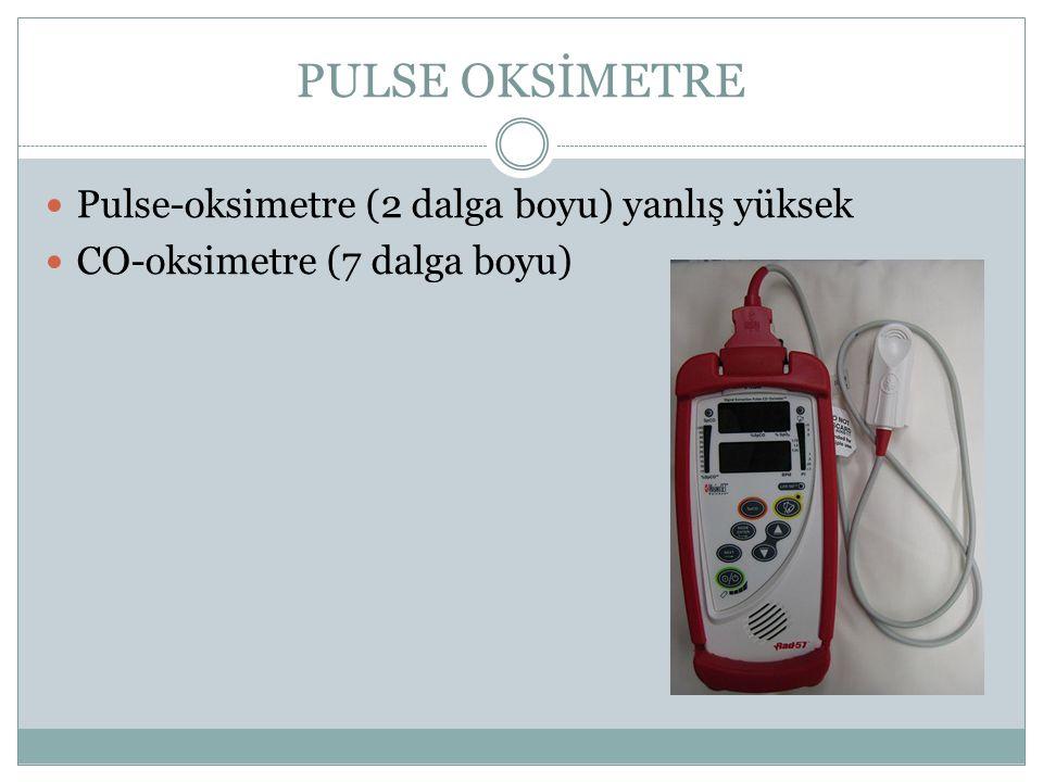 PULSE OKSİMETRE Pulse-oksimetre (2 dalga boyu) yanlış yüksek