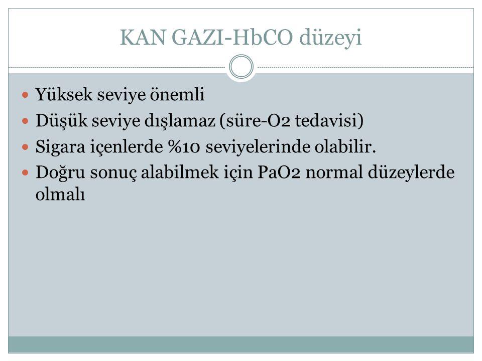 KAN GAZI-HbCO düzeyi Yüksek seviye önemli