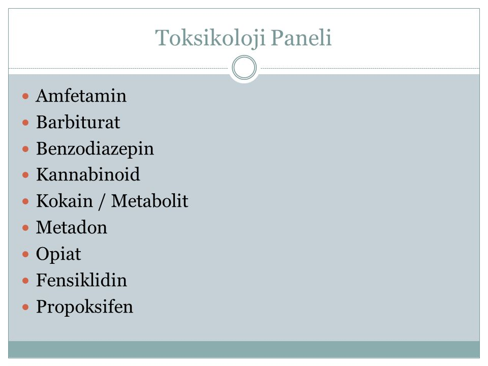 Toksikoloji Paneli Amfetamin Barbiturat Benzodiazepin Kannabinoid