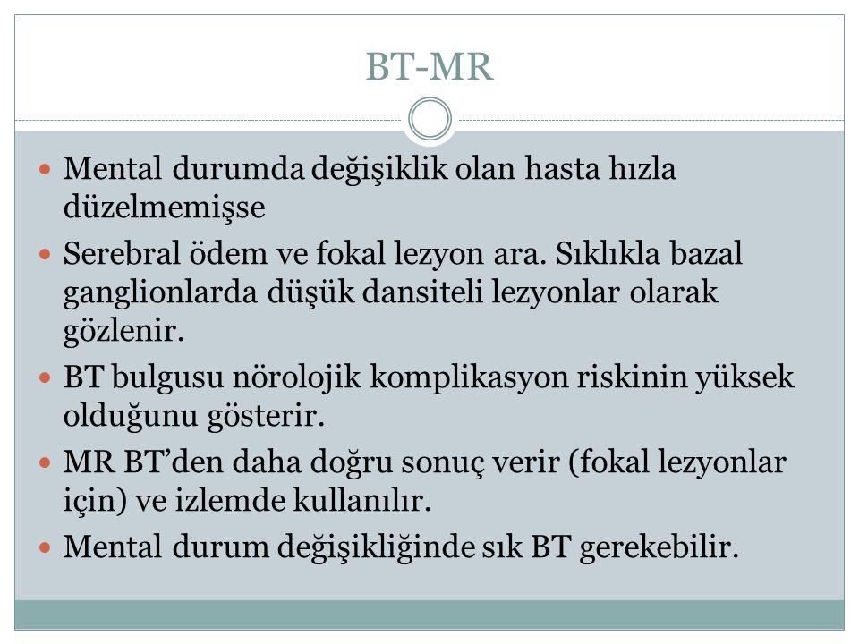 BT-MR Mental durumda değişiklik olan hasta hızla düzelmemişse