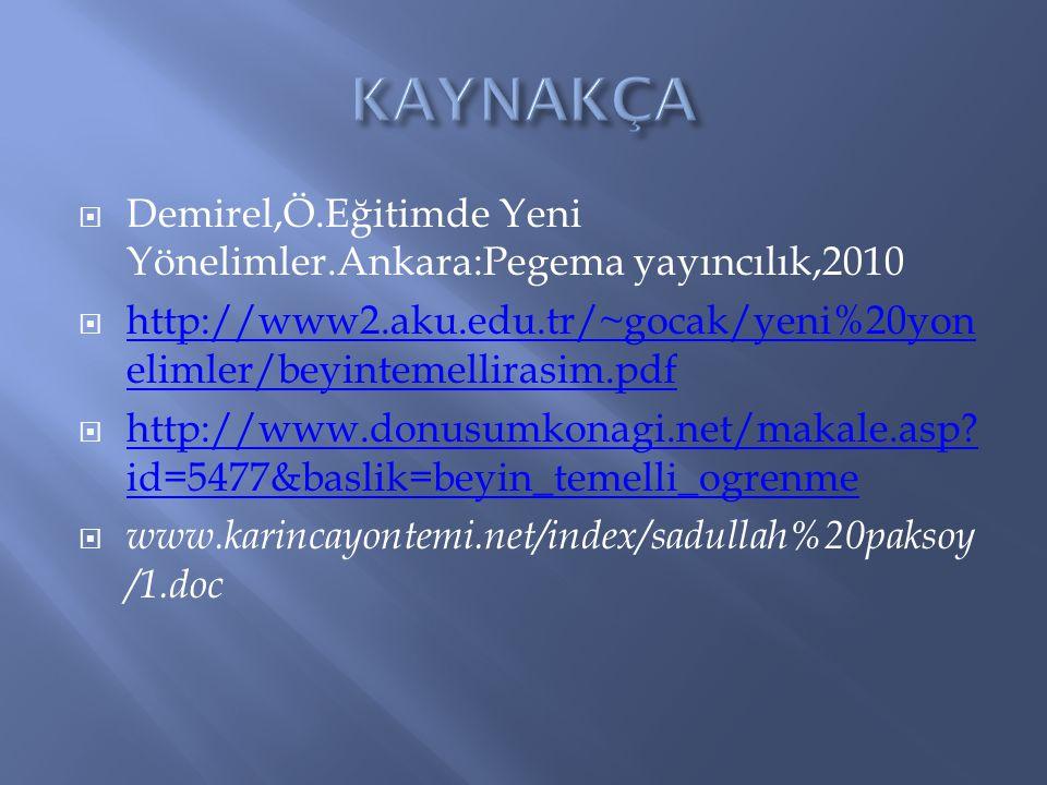 KAYNAKÇA Demirel,Ö.Eğitimde Yeni Yönelimler.Ankara:Pegema yayıncılık,2010. http://www2.aku.edu.tr/~gocak/yeni%20yonelimler/beyintemellirasim.pdf.