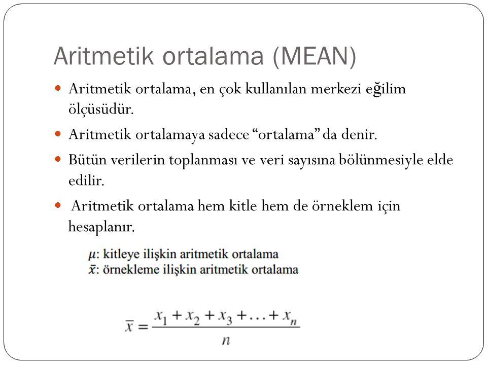Aritmetik ortalama (MEAN)