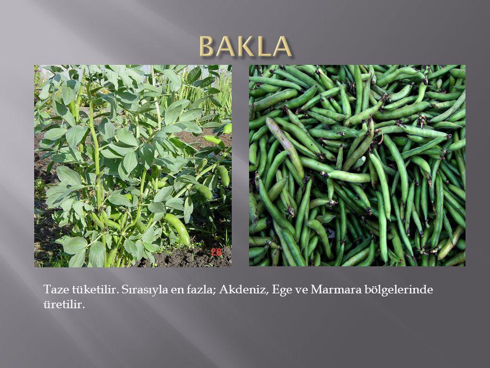 BAKLA Taze tüketilir. Sırasıyla en fazla; Akdeniz, Ege ve Marmara bölgelerinde üretilir.