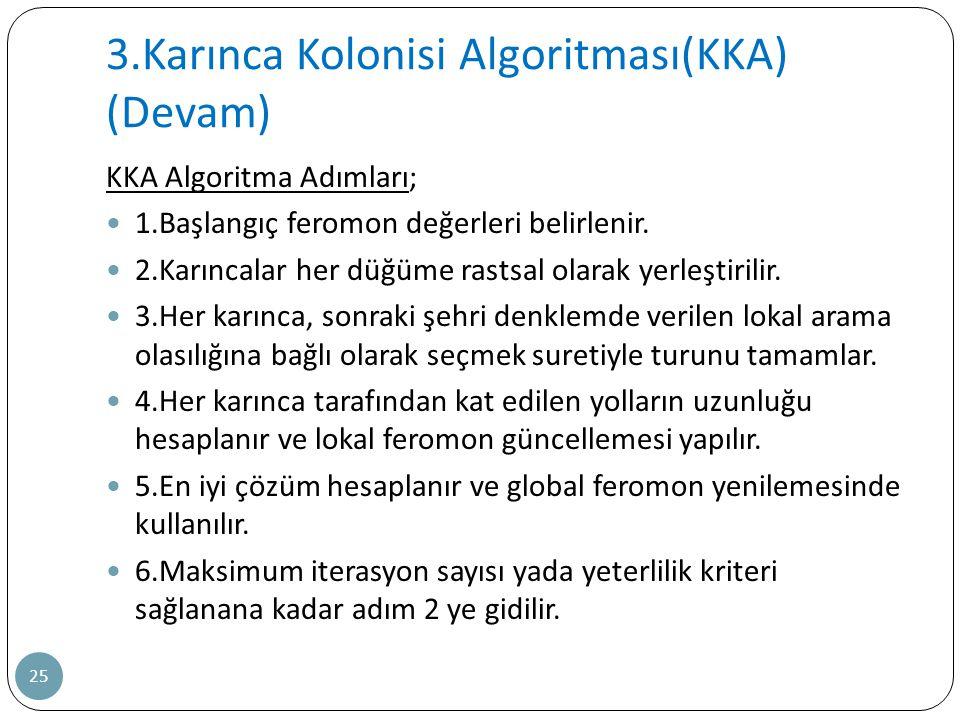 3.Karınca Kolonisi Algoritması(KKA) (Devam)