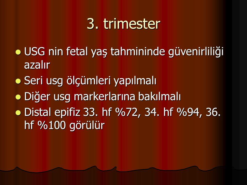 3. trimester USG nin fetal yaş tahmininde güvenirliliği azalır