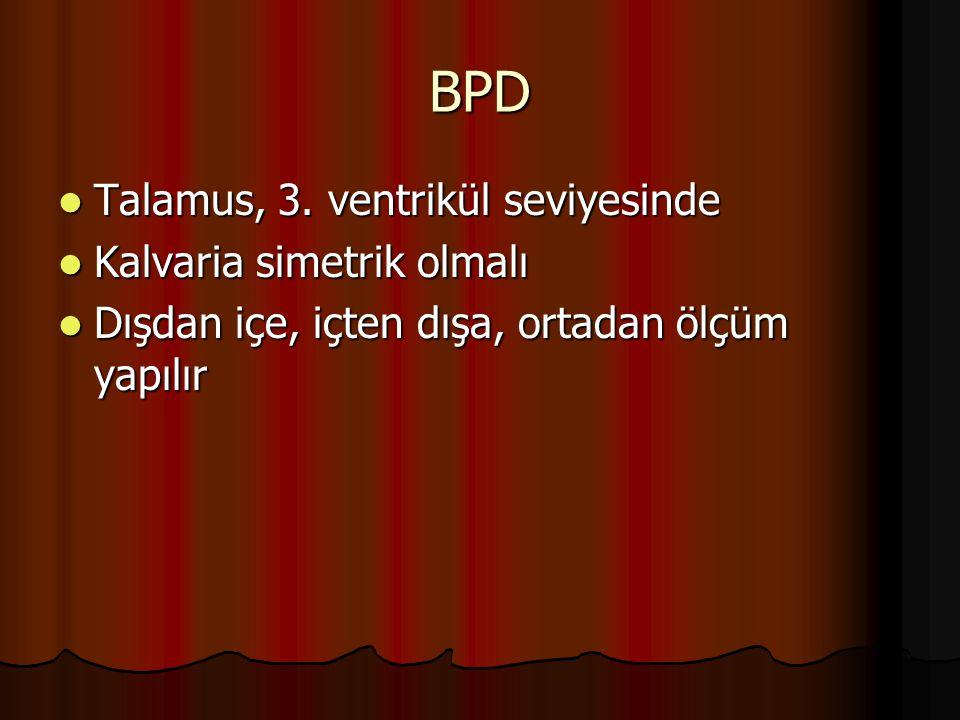 BPD Talamus, 3. ventrikül seviyesinde Kalvaria simetrik olmalı