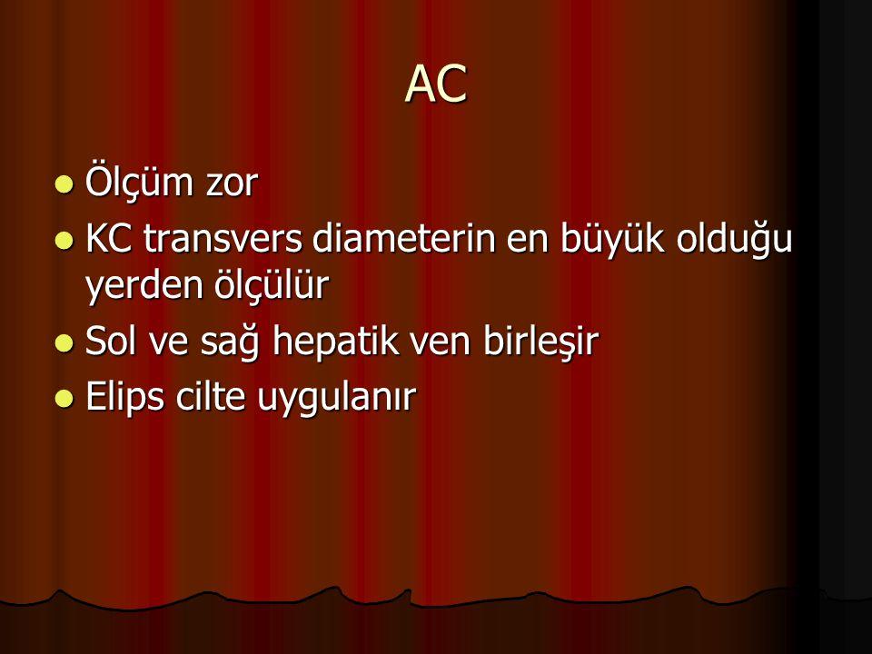 AC Ölçüm zor KC transvers diameterin en büyük olduğu yerden ölçülür