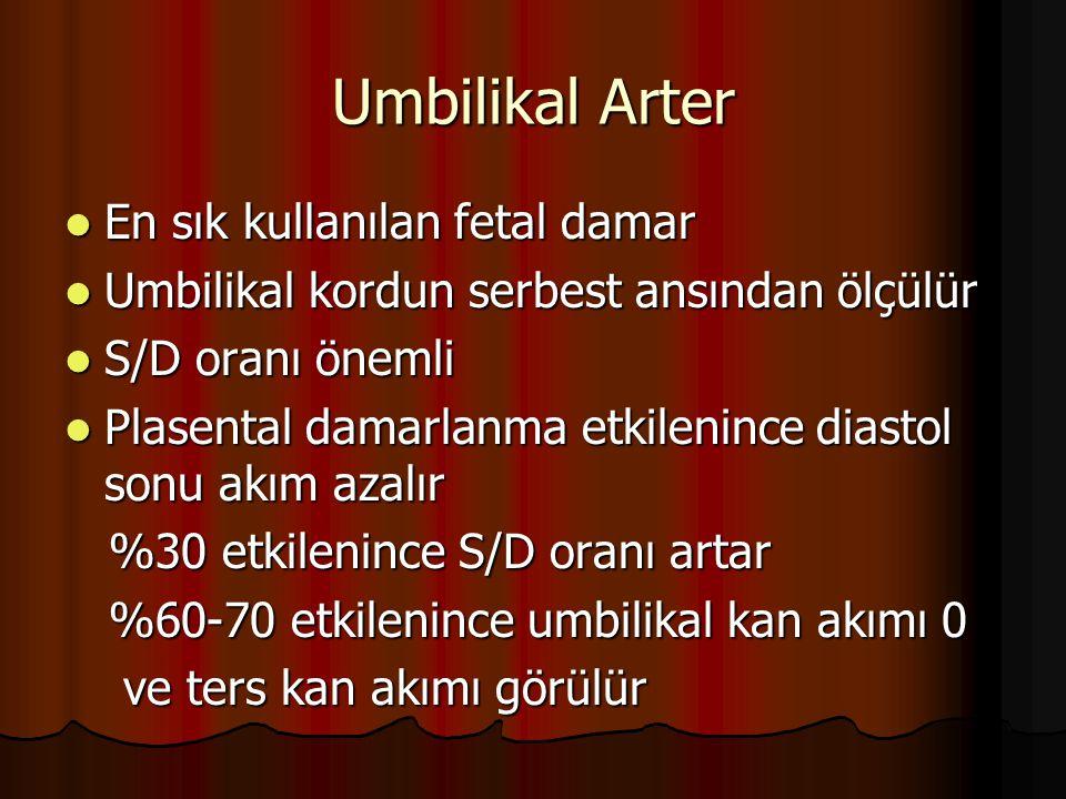 Umbilikal Arter En sık kullanılan fetal damar