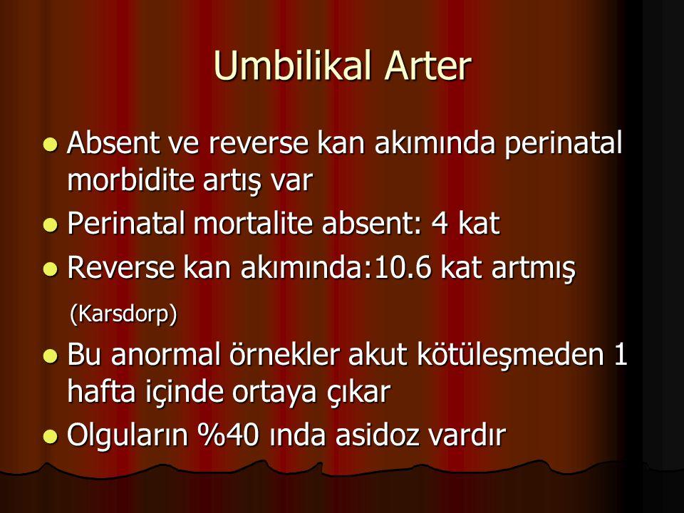 Umbilikal Arter Absent ve reverse kan akımında perinatal morbidite artış var. Perinatal mortalite absent: 4 kat.