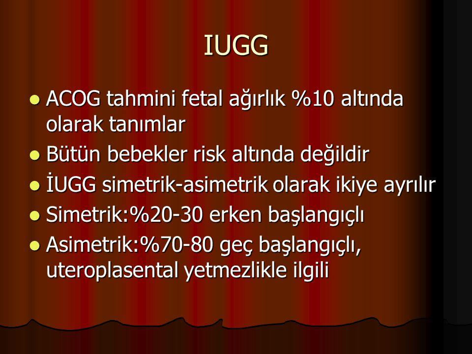 IUGG ACOG tahmini fetal ağırlık %10 altında olarak tanımlar