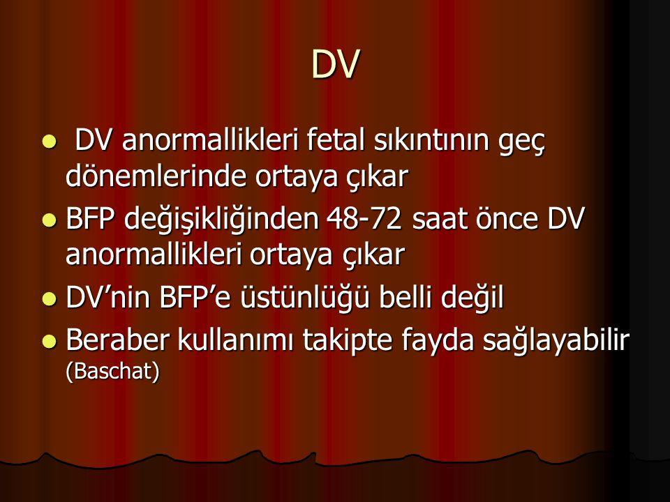 DV DV anormallikleri fetal sıkıntının geç dönemlerinde ortaya çıkar