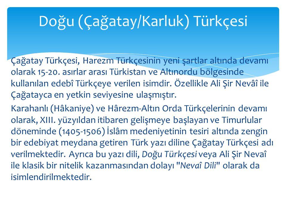 Doğu (Çağatay/Karluk) Türkçesi