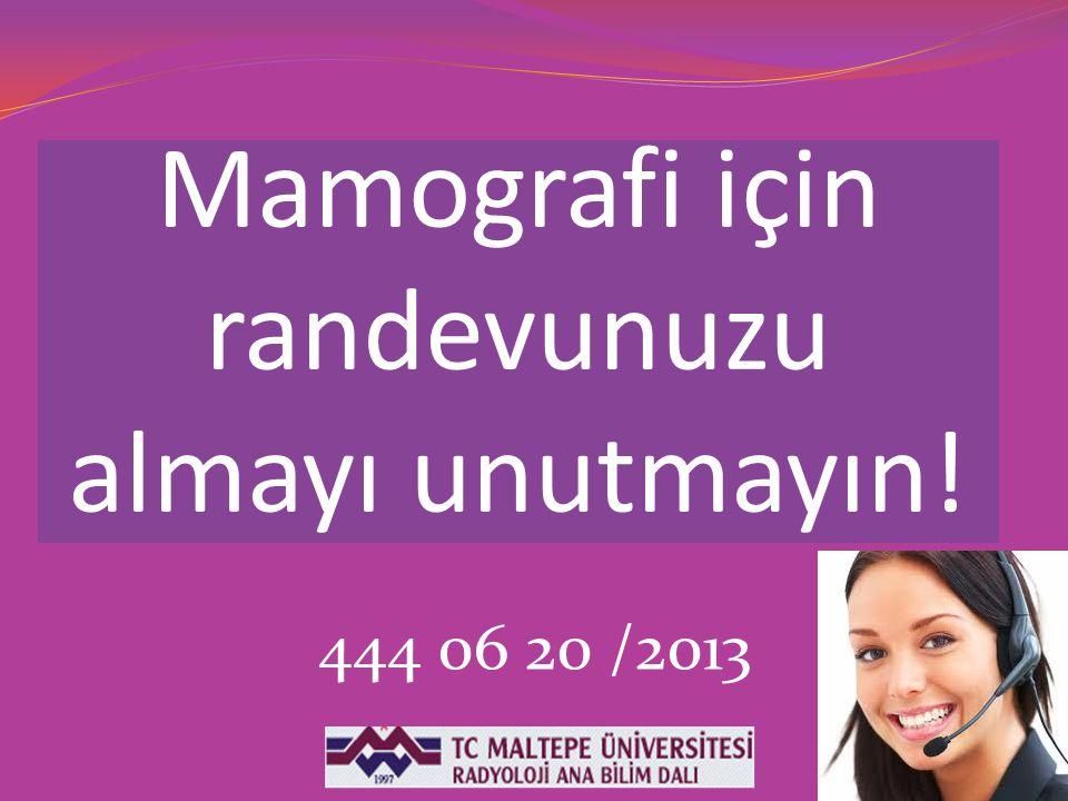 Mamografi için randevunuzu almayı unutmayın!