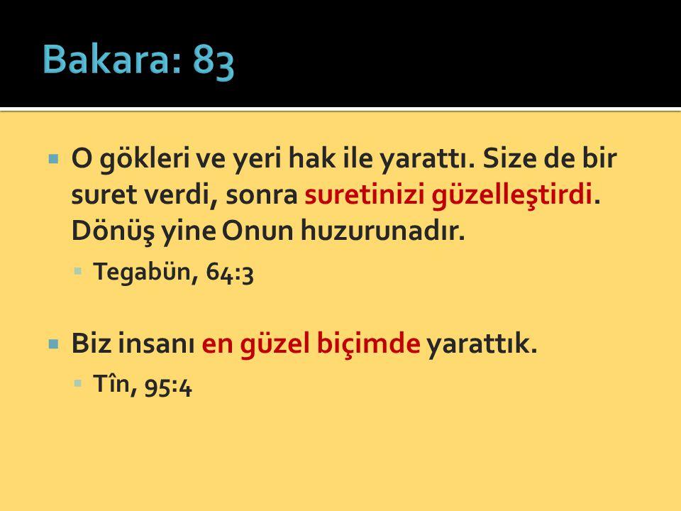 Bakara: 83 O gökleri ve yeri hak ile yarattı. Size de bir suret verdi, sonra suretinizi güzelleştirdi. Dönüş yine Onun huzurunadır.